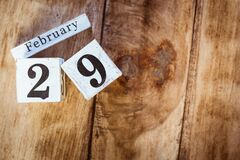 Free February 29th. Day 29 Of February Month, White Calendar Blocks On Vintage Wooden Table Background. Winter Time. Empty Space For Stock Image - 171137191