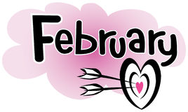 February. Headline of February with a heart target with arrows Stock Images