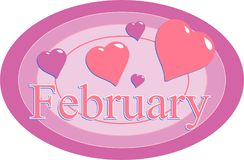 February. Graphic representing the month of February Stock Images