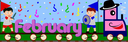 February. Illustration showing February written on a train surrounded by a funny and colouful carnival scene. You can find all the months in my portfolio Royalty Free Stock Image