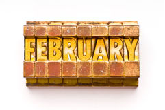 February. The Month February done in letterpress type. Part of a calendar series Stock Images