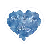 14 February. Abstract heart with handwritten inscription. Royalty Free Stock Photo