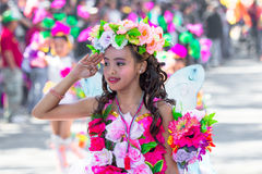 February 27, 2015 Baguio, Philippines. Baguio Citys Panagbenga Flower Festival. Unidentified people on parade in carnival costumes Stock Images