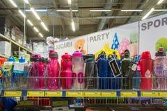 February 11, 2021 Balti Moldova supermarket, illustrative editorial. Sports accessories department