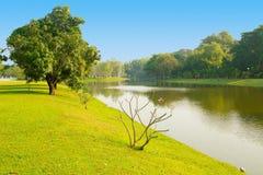 Bang Pa In Palace gardens with lake Ayutthaya Stock Photos