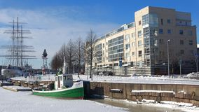 February on the banks of the river Aura. Turku, Finland. TURKU, FINLAND - FEBRUARY 23, 2018: February on the banks of the river Aura stock video footage