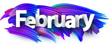 Free February Banner With Blue Brush Strokes. Royalty Free Stock Photography - 125370877