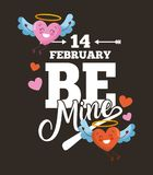 14 february be mine card love hearts with wings cartoon dark background. Vector illustration Stock Photography