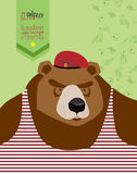 23 February. Bea  Postcard, poster for the holiday. 23 February. Bear with Cap. The vintage backgrounds. text in Russian: 23 February. Congratulations To. Day Royalty Free Stock Image