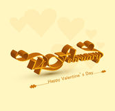 14 February beautiful elegant 3d text design. For happy valentines day background Stock Images