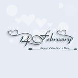 14 February beautiful elegant text design. For happy valentines day Stock Illustration