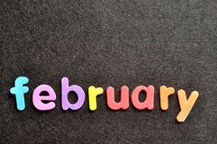 February on a black background Stock Photos
