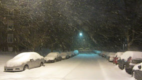 February Blizzard. Video of snow blizzard at night during february stock footage