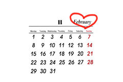 February calendar. Valentine's Day Calendar Date royalty free illustration