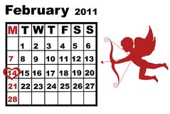 February calendar Royalty Free Stock Photos