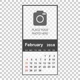 February 2018 calendar. Calendar planner design template with pl. Ace for photo. Week starts on sunday. Business vector illustration Stock Photos