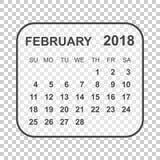 February 2018 calendar. Calendar planner design template. Week s. Tarts on Sunday. Business vector illustration Royalty Free Stock Images