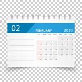 February 2018 calendar. Calendar planner design template. Week s. Tarts on Sunday. Business vector illustration Stock Photography