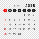 February 2018 calendar. Calendar planner design template. Week s. Tarts on Sunday. Business vector illustration Stock Photo
