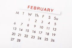 February 2017 calendar. Close up February 2017 calendar page Royalty Free Stock Photo