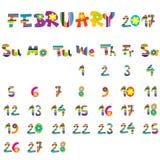 February 2017 calendar Stock Images