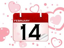 February calendar. Calendar with 14 February date with heart background Royalty Free Stock Photography