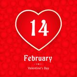 Valentines day, 14 February, card with hearts. 14 February, calendar date in heart on red hearts background, Valentines Day greeting card, Happy Valentine`s Day Stock Image