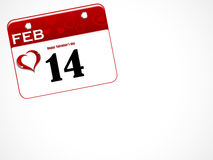 February calendar. Calendar with 14 February date with hearts Royalty Free Stock Images