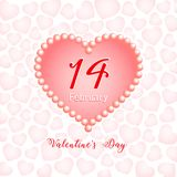 Valentines day, 14 February, hearts and pearl. 14 February, calendar date in pink heart on white background with pink hearts, Valentines Day greeting card, Happy stock illustration