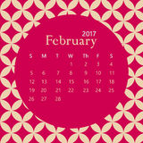 2017 February calendar design with geometric background | colorful modern business Royalty Free Stock Photography