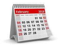 February 2018 - Calendar. February 2018 , This is a 3d rendered computer generated image. Isolated on white Stock Images