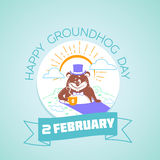 2 February Calendar happy groundhog day. Calendar for each day on February 2. Greeting card. Holiday - happy groundhog day. Icon in the linear style Vector Illustration