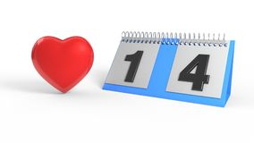 February 14 calendar and heart, 3d rendering. February 14 calendar and heart, 3d render vector illustration