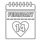 February 14 calendar icon, outline style. February 14 calendar icon. Outline illustration of february 14 calendar vector icon for web stock illustration