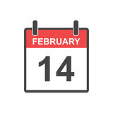February 14 calendar icon. Vector illustration in flat style. Valentines day on 14th February stock illustration