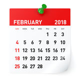 February 2018 - Calendar. Isolated on White Background. 3D Illustration Stock Photo