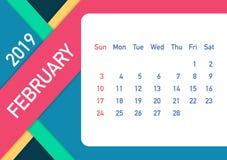 February 2019 Calendar Leaf. Calendar 2019 in flat style. A5 size. Vector illustration. February 2019 Calendar Leaf. Calendar 2019 in flat style. A5 size stock illustration