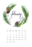 February calendar. New watercolor calendar with floral wreath and hand lettering. Modern calligraphy poster. February 2017 Royalty Free Stock Image