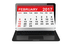 February 2017 calendar over laptop screen. 3d rendering Royalty Free Stock Images
