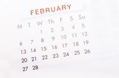 February 2017 calendar page. stock photo