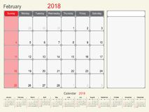 February 2018 Calendar Planner Design Stock Image