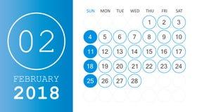 February 2018 calendar. Calendar planner design template. Week s. Tarts on Sunday. Business vector illustration Royalty Free Stock Photography