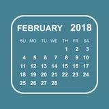 February 2018 calendar. Calendar planner design template. Week s. Tarts on Sunday. Business vector illustration Royalty Free Stock Photos