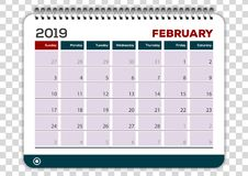 February 2019. Calendar planner design template royalty free illustration