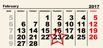 February 23 Calendar reminder red star Stock Photography
