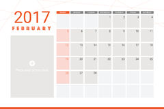 February 2017 calendar. With space for picture Royalty Free Stock Photo
