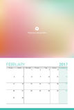 February 2017 calendar. With space for your picture Royalty Free Stock Photography