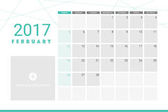 February 2017 calendar. With space for your pictures Royalty Free Stock Photos