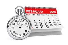 February 2018 calendar with stopwatch. 3d rendering. 2018 year calendar. February calendar with stopwatch on a white background. 3d rendering Stock Photo