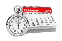 February 2019 calendar with stopwatch. 3d rendering. 2019 year calendar. February calendar with stopwatch on a white background. 3d rendering stock illustration